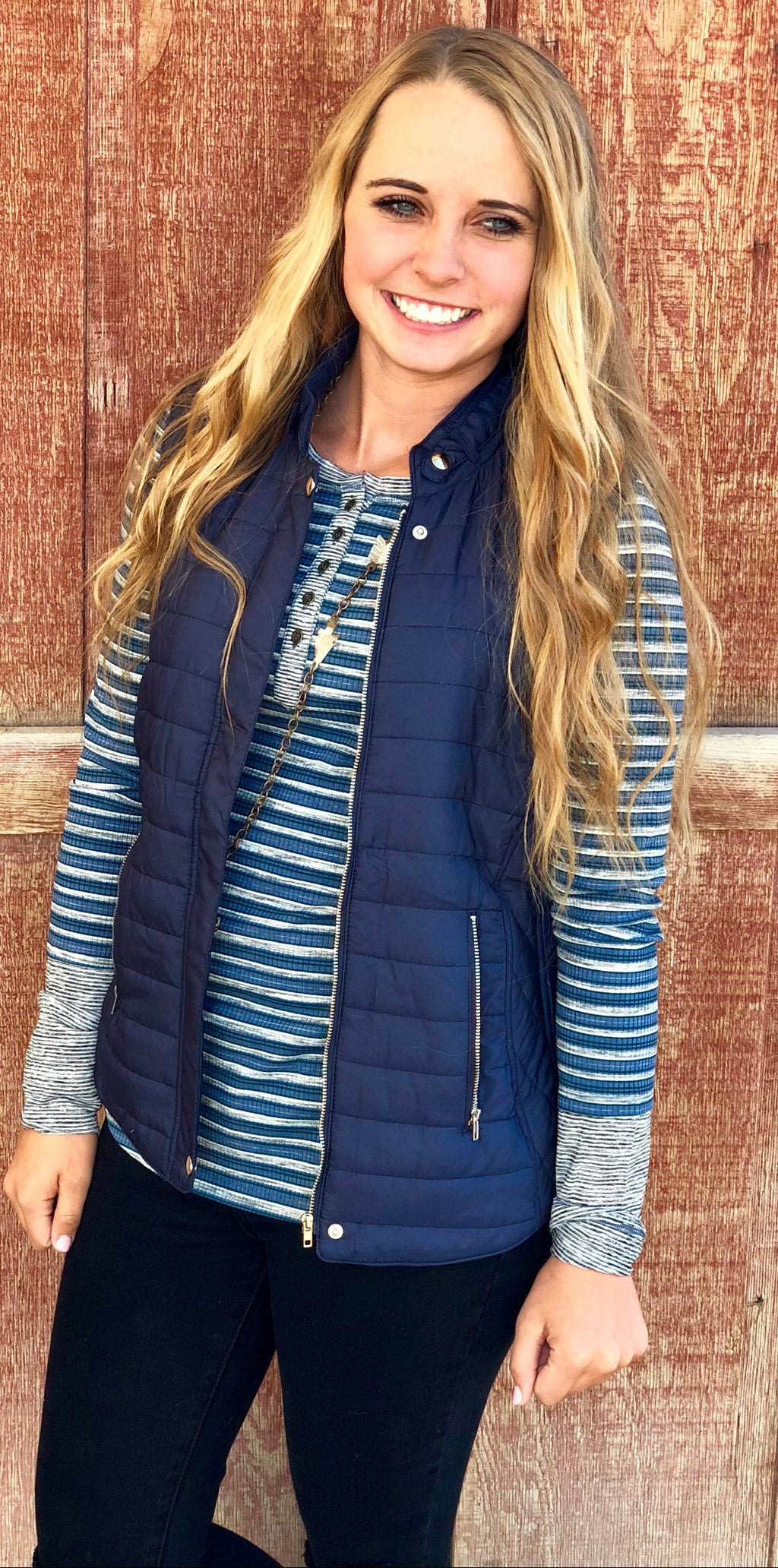 The Kania Blue Stripe Henley Top