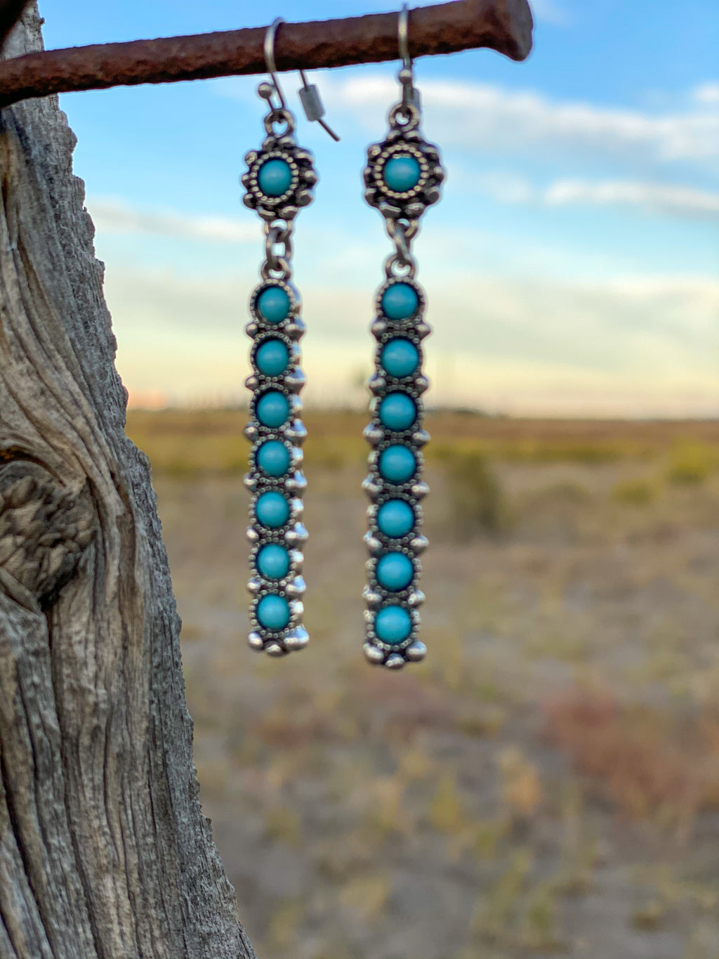 The Silver Turquoise Southwest Drop Earrings