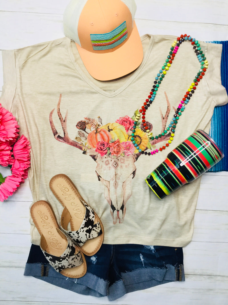 The Betty Boho Floral Deer Tee
