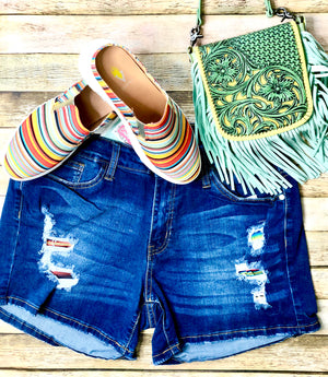 Judy Blue Serape Patch Shorts