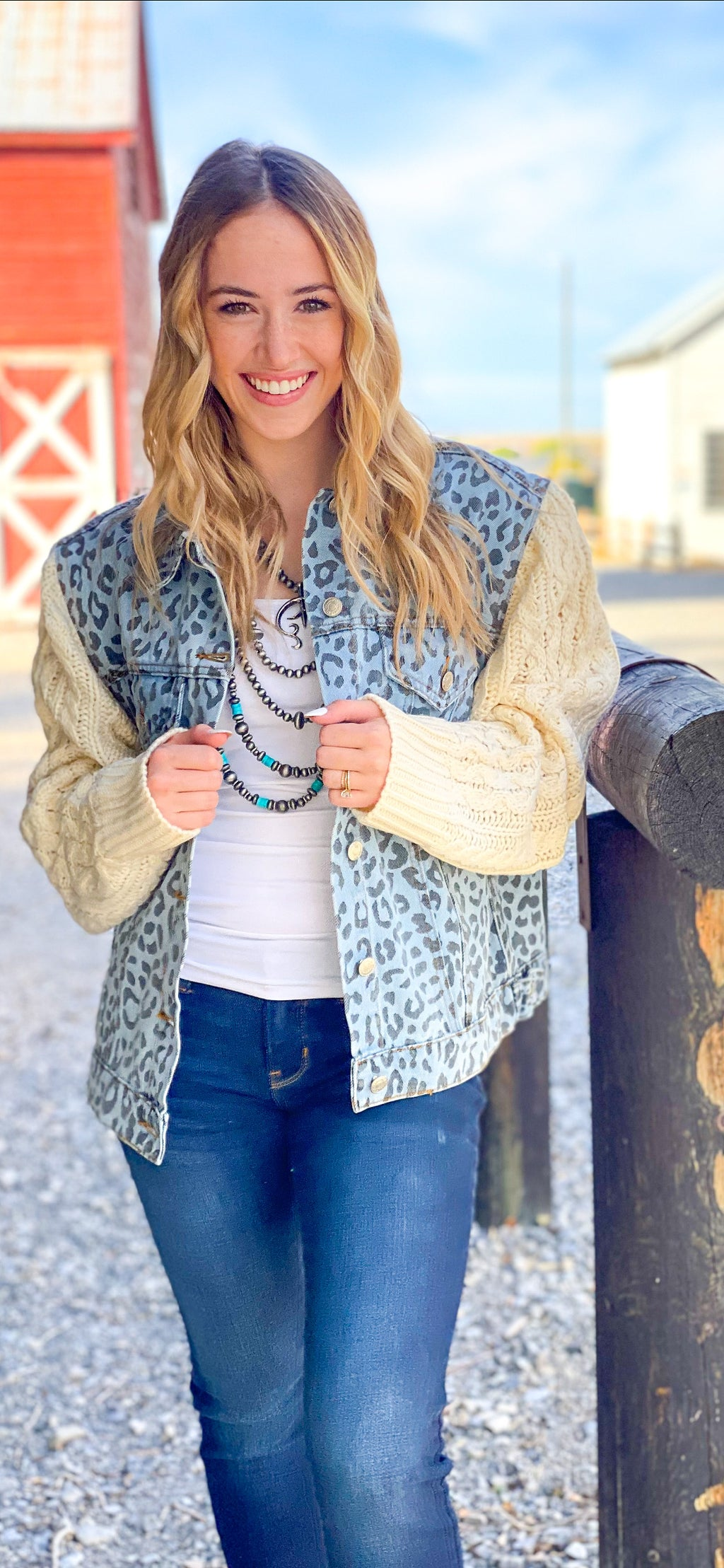 The Blue Cheetah Sweater Sleeve Denim Jacket