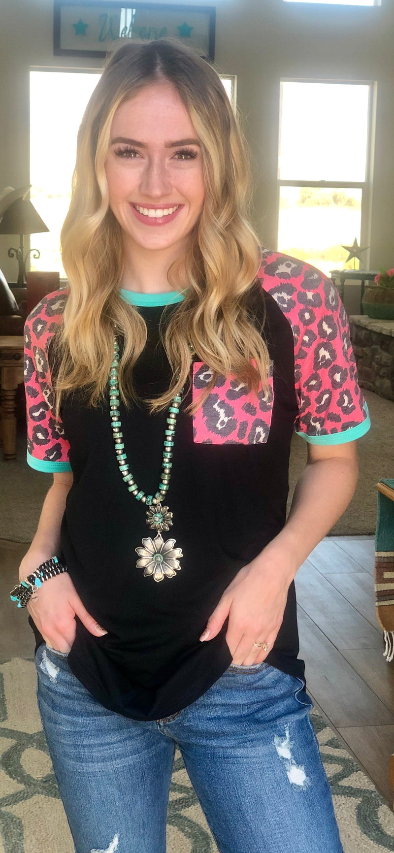 The Turquoise & Pink Jungle Cat Top