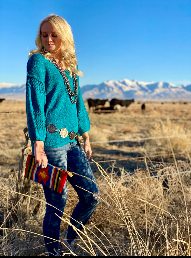 The Teal Miles City Fall Sweater