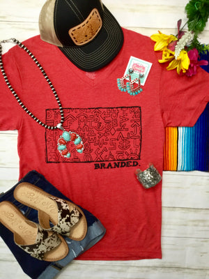 The Red V Neck Brands Tee
