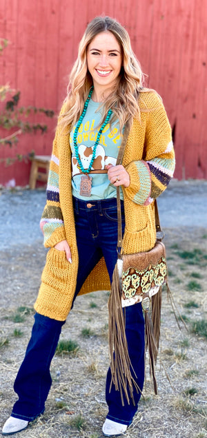 The Marigold Striped Sleeve Sweater