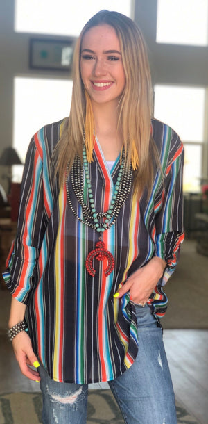 The Gallop Girl Black Serape Stripe Top