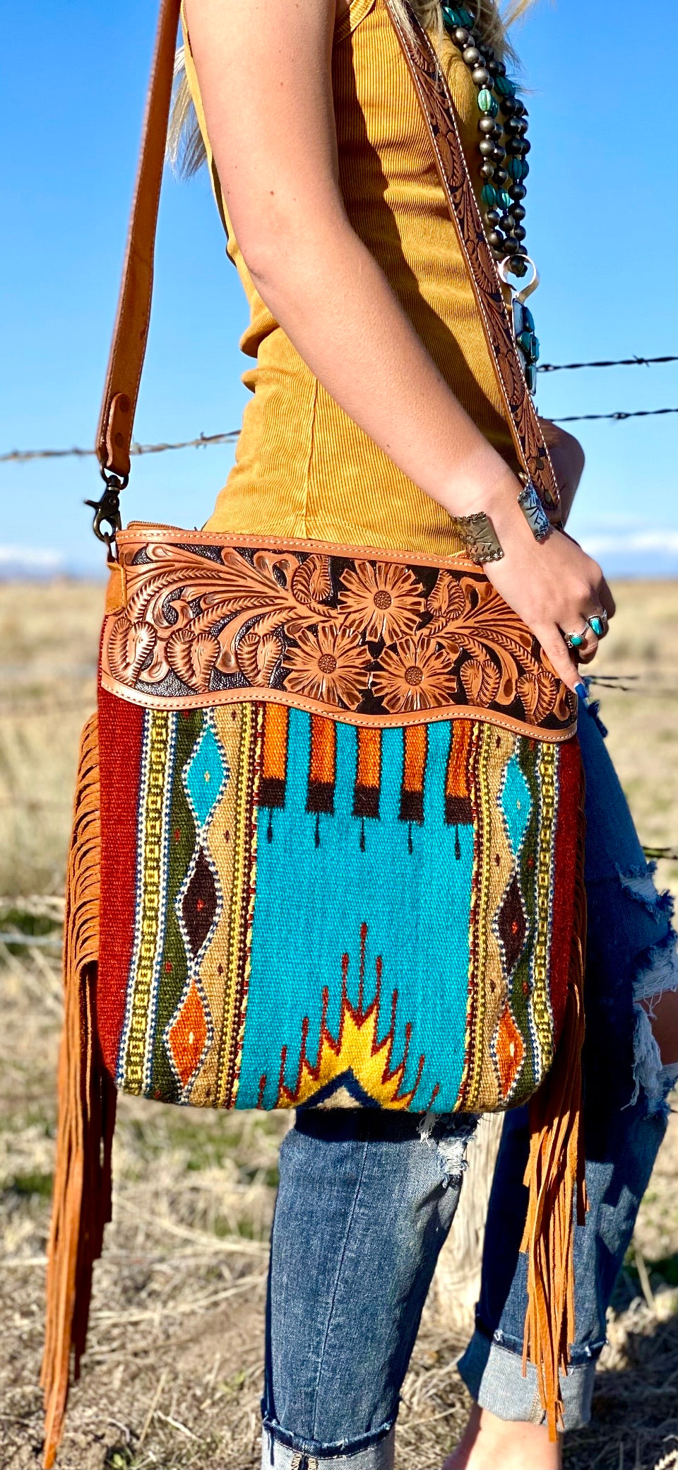 The Alamagordo Navajo Fringe Bag