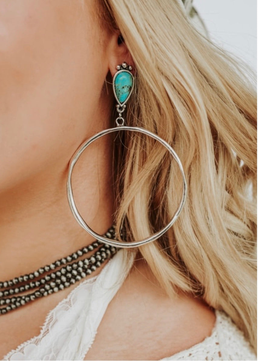 Turquoise Drop Hoop Earrings