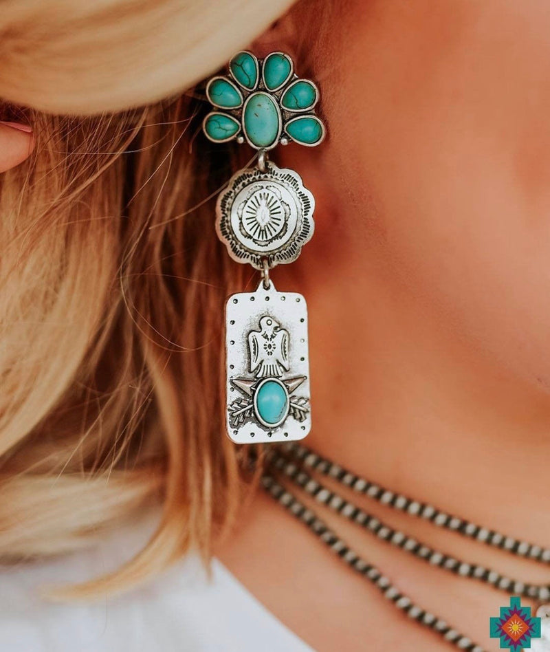 The Canton Thunderbird Turquoise & Silver Southwest Earrings