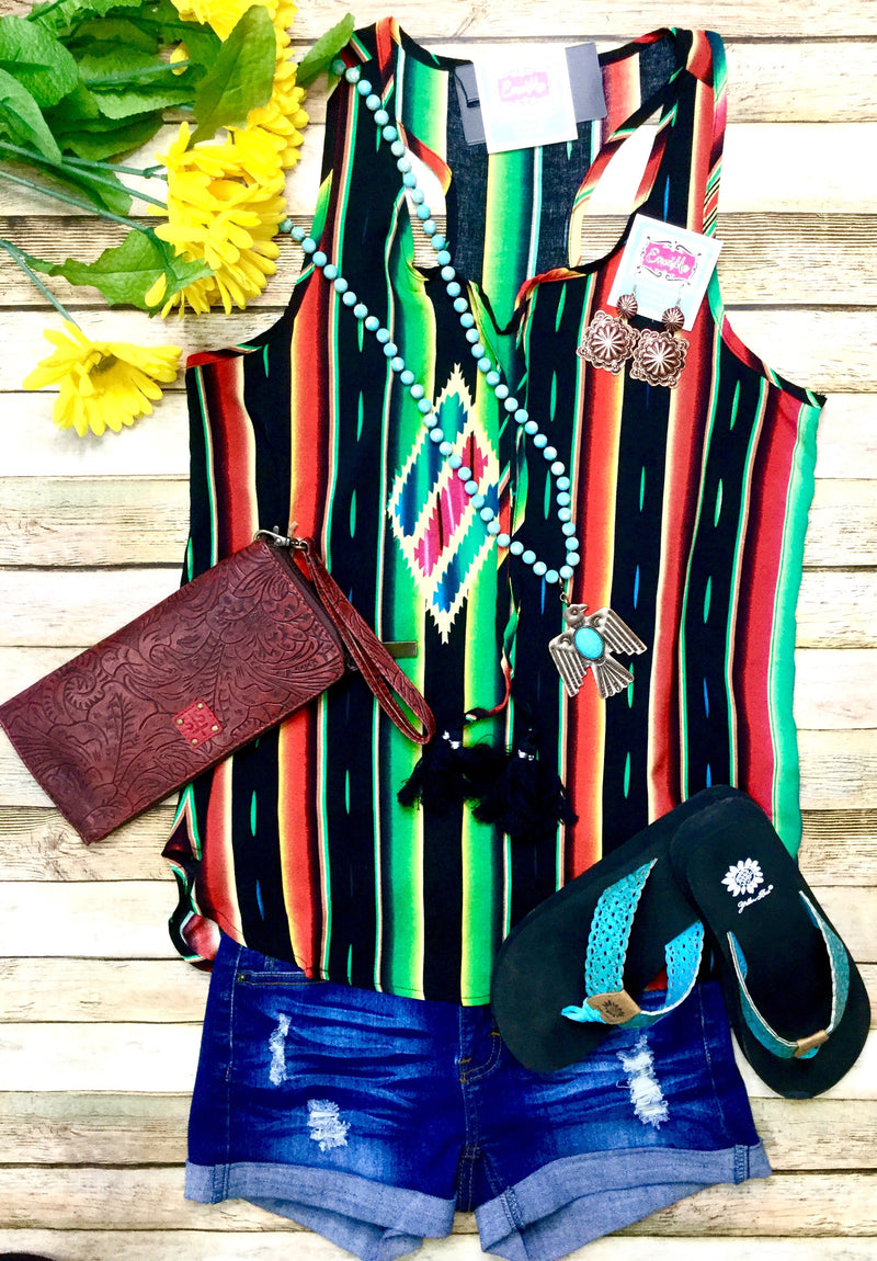 The Black Seminole Serape Stripe Top