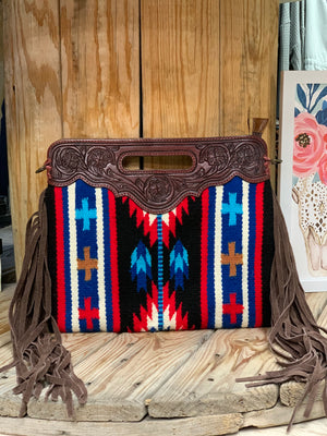 The Zia Wool Fringe Clutch Bag