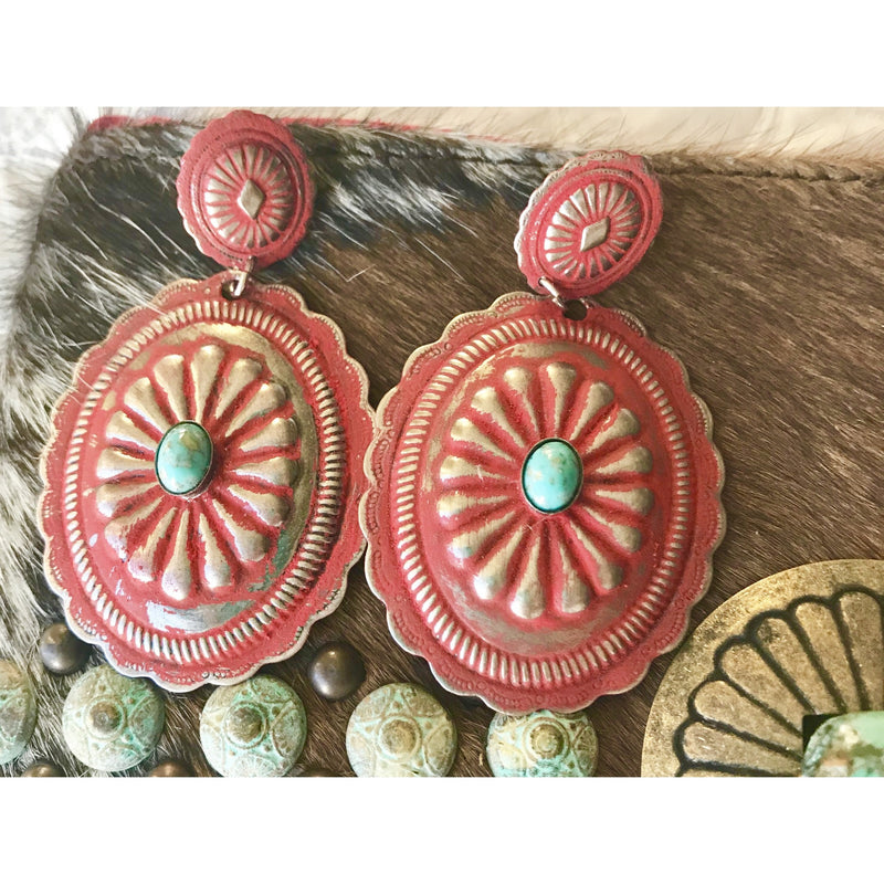 Red Concho Earring w Turquoise