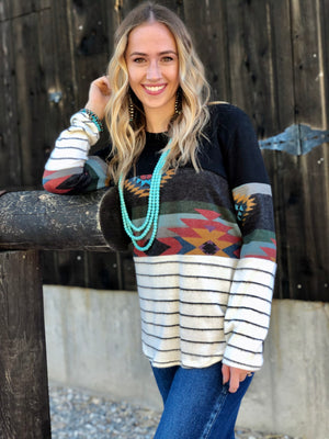 The Sterling Stripe Tribal Top