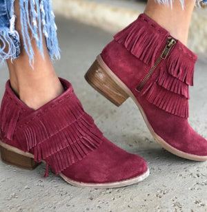 Reba Red Fringe Leather Bootie