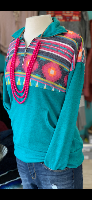 The Zima Zip Up Tribal Pullover