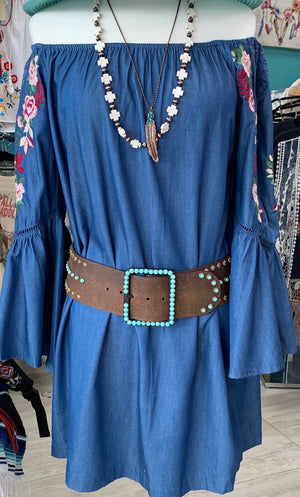 The Spanish Fork Embroidered Denim Tunic