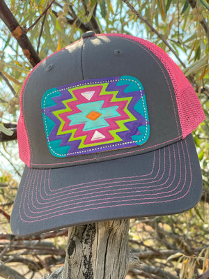 The Arizona Aztec Leather Patch Cap