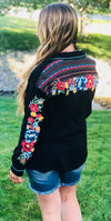 The La Mesa Floral Embroidered Button Up Top