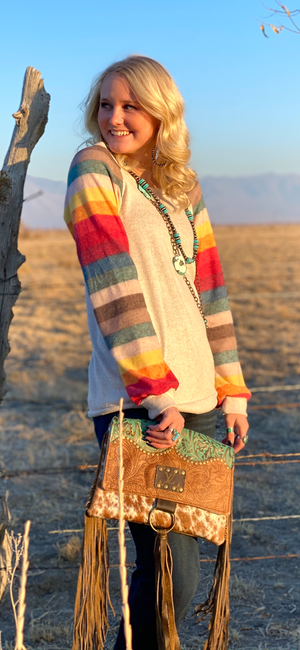 The Vanilla Serape Striped Sleeve Top