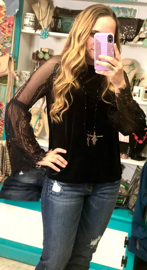 Must Have Black Velvet Lace Top