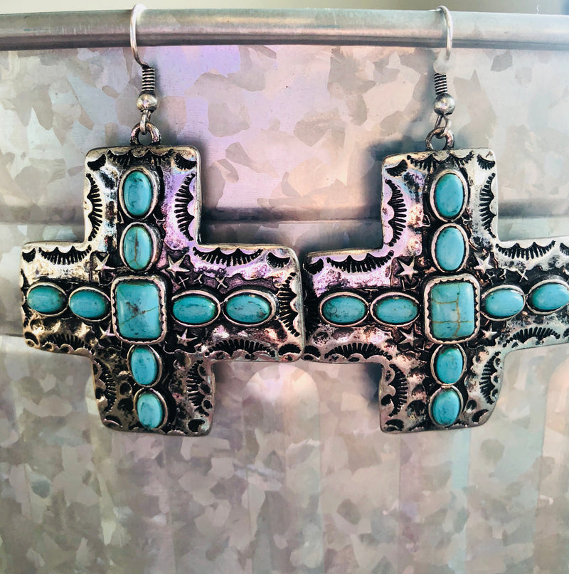 Silver With Turquoise Cross Earrings