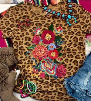 The Fall Cheetah Floral Tee