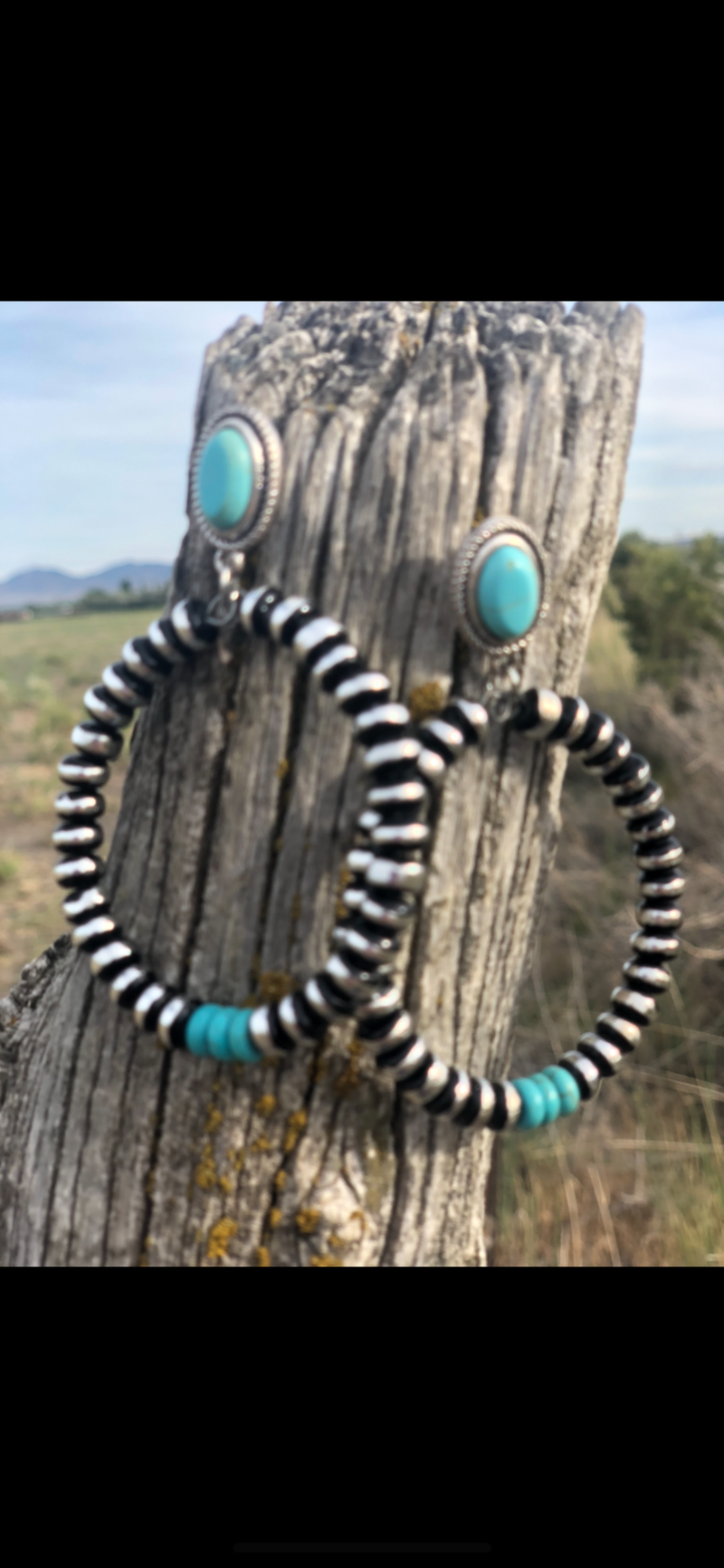 The Amarillo Turquoise & Navajo Hoop Earrings