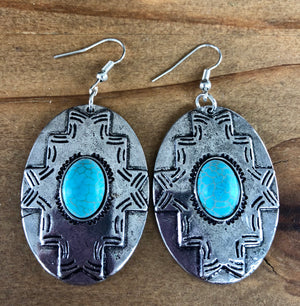 Silver Tribal Turquoise Oval Earring