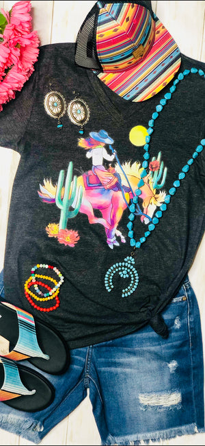 The Watercolor Cactus 🌵 Cowgirl V Neck Tee