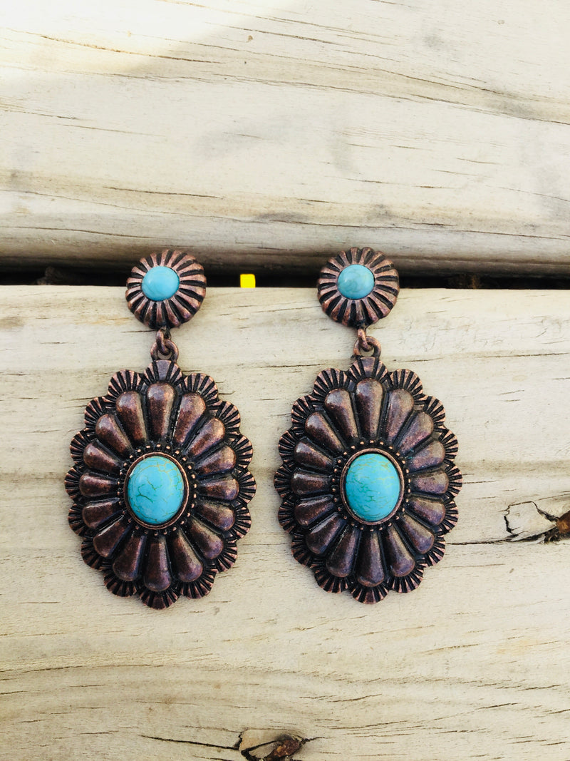Copper and Turquoise Southwest Earrings