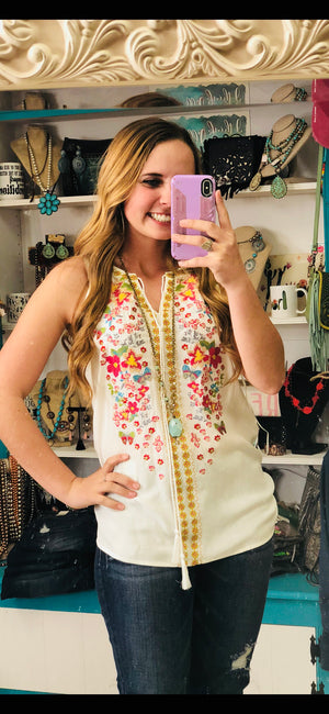 Imara's Embroidered Sleeveless Top