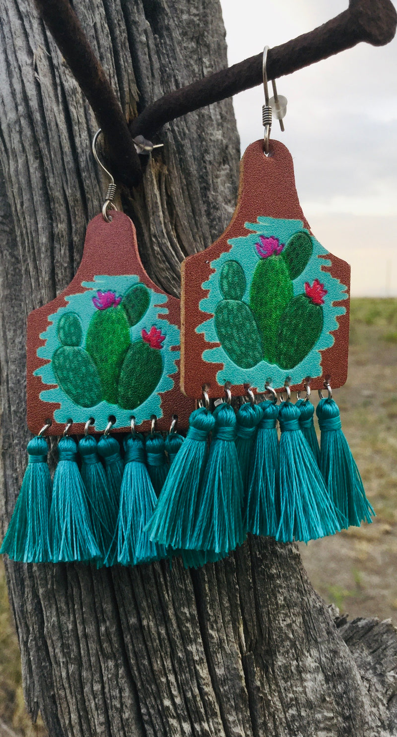 The Turquoise Cactus 🌵 Fringe Earrings