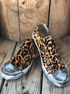 Jungle Cat Hair On Cheetah Slip Ons