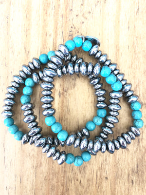 Silver and Turquoise Navajo Pearl Stack Bracelets