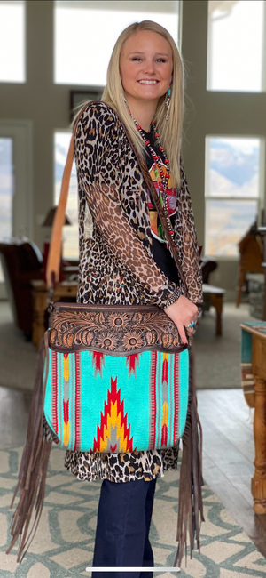 The Turquoise Desert Drifter Tooled Leather Top Navajo Fringe Bag