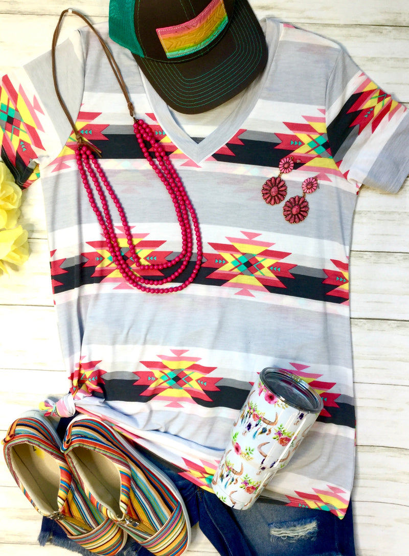 The Cascades  V Neck Aztec Top