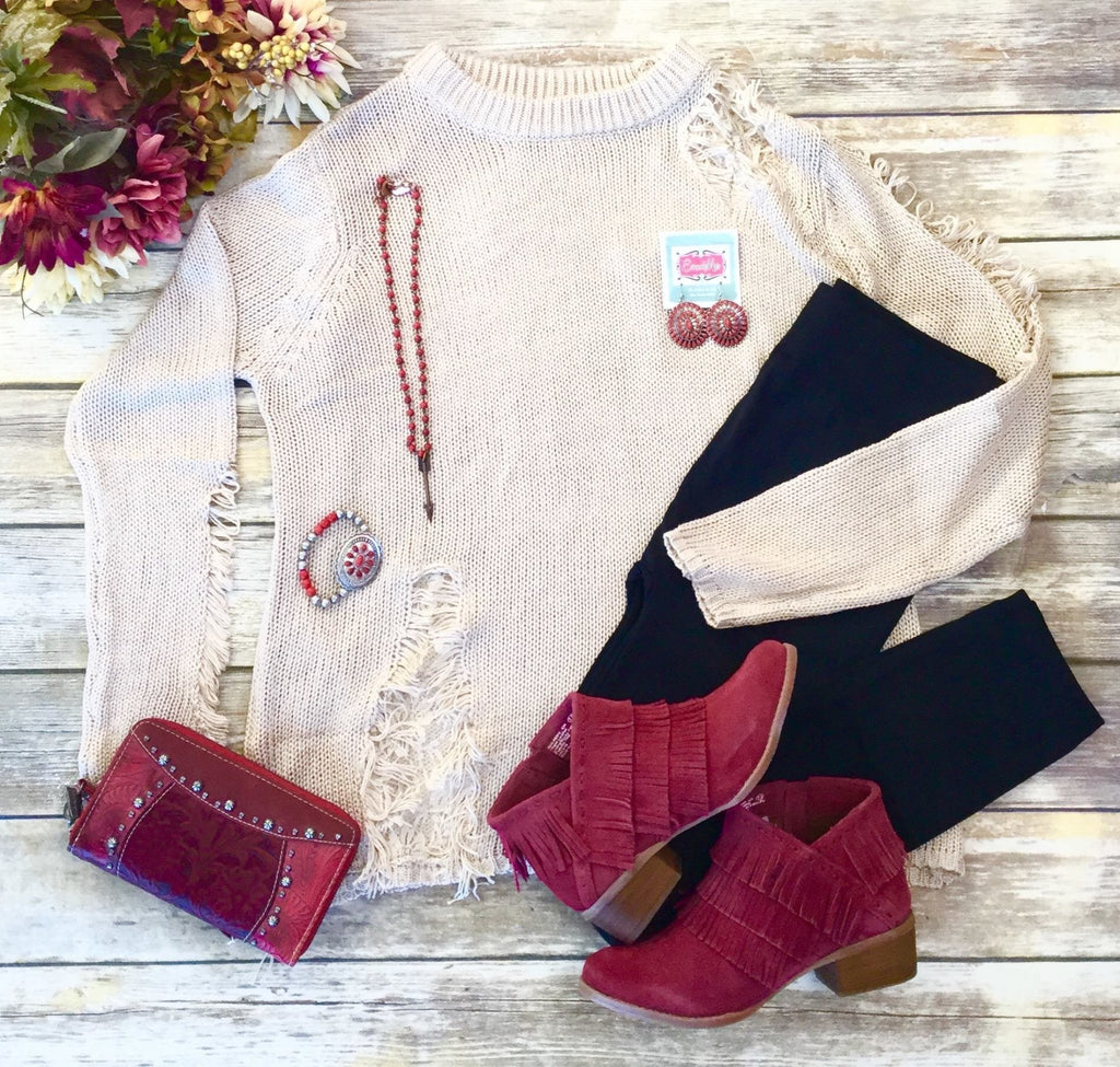 The Freesia Distressed Lace Sweater