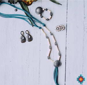 The Turquoise Conchita Concho Tassel Necklace