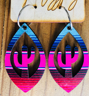The Welio Wood Serape Cactus Earrings