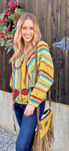 The Mustard Laredo Serape Double V Top