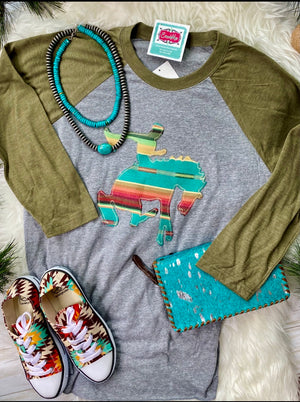 The Olive Serape Bronc Baseball Tee
