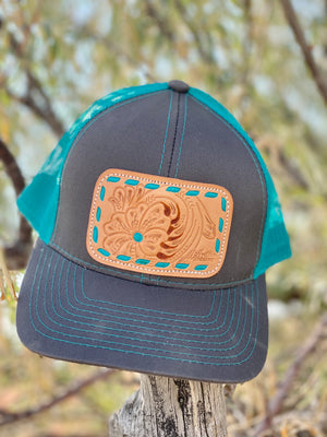 The Turquoise Buckstitch Leather Patch Cap