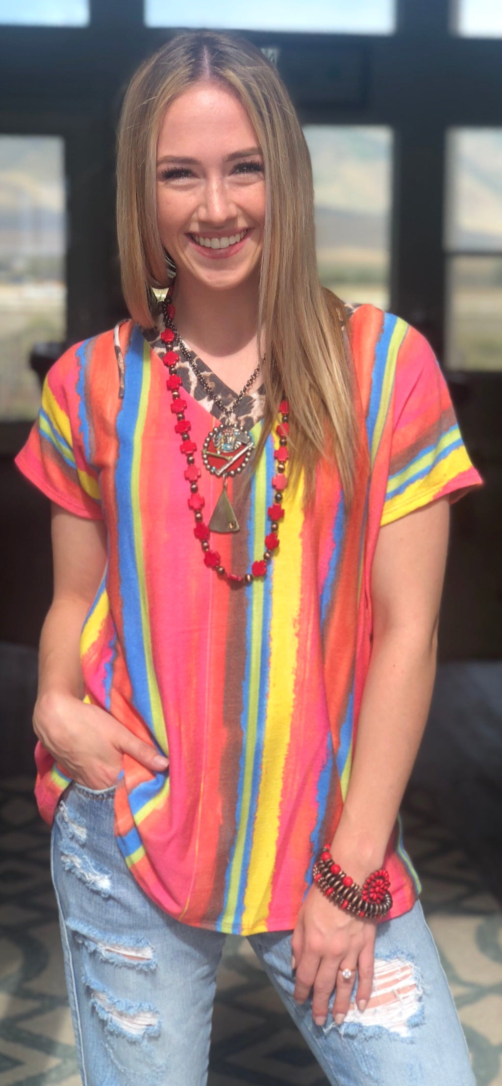 The South Of Portah Cheetah Serape Top