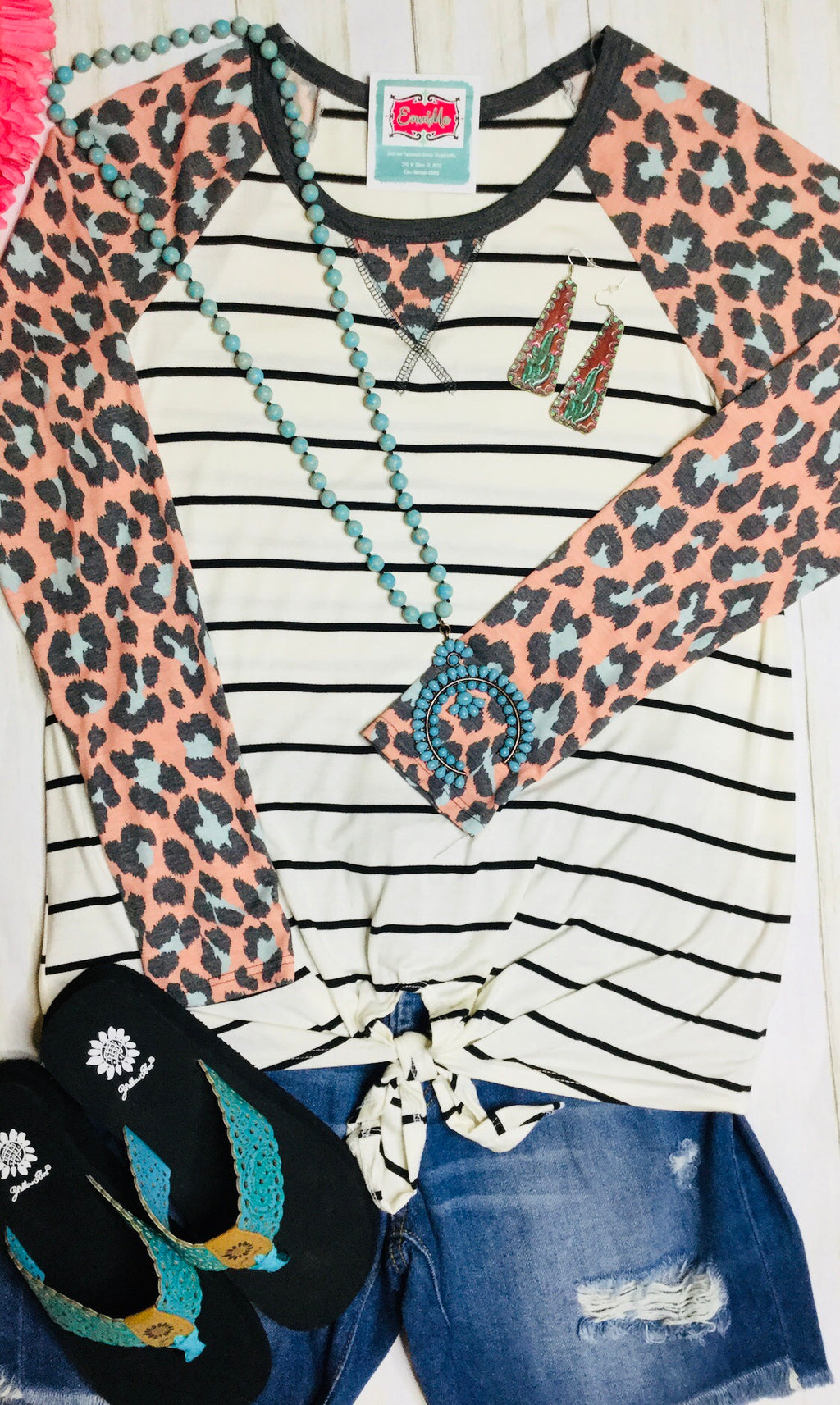 The Pink Cheetah Stripe Knot Top