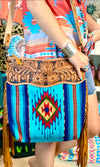The Blue Casita Tooled Leather Top Navajo Fringe Bag