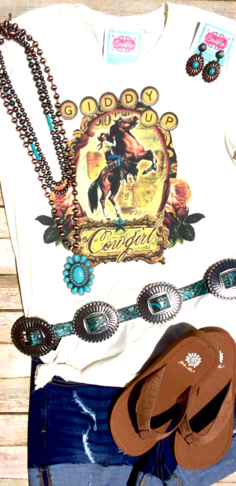 Giddy Up Cowgirl Retro Tee