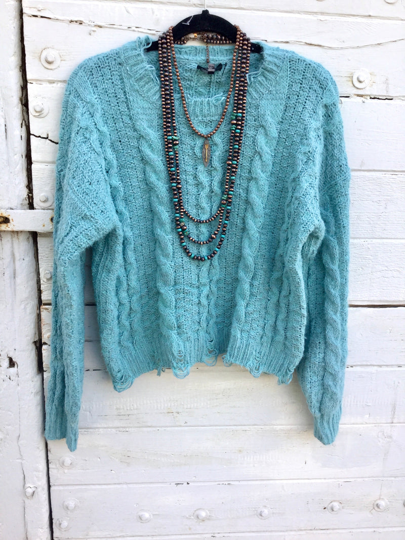 The Pacific Turquoise Distressed Sweater