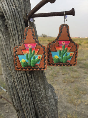 The Leather Desert Cactus 🌵 Earring