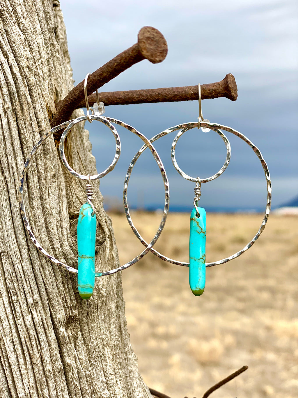 The Sterling & Turquoise Drop Circle Earring