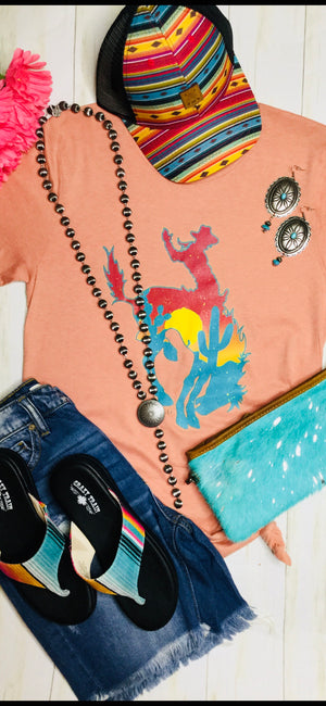 The Peachy Sunset Cactus 🌵 Bronc Tee